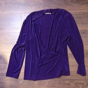 Chico's Travelers Criss Cross Purple Top